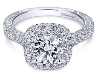 Gabriel Mariah 14k White Gold Round Halo Engagement RingER7256W44JJ 11 - Vintage 14k White Gold Round Halo Diamond