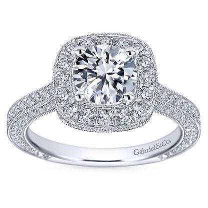 Gabriel Mariah 14k White Gold Round Halo Engagement RingER7256W44JJ 51 - Vintage 14k White Gold Round Halo Diamond