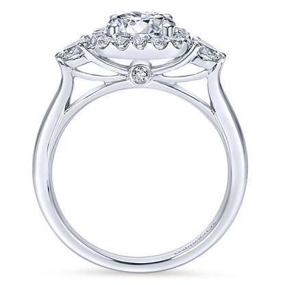Gabriel Martine 14k White Gold Round 3 Stones Halo Engagement RingER7510W44JJ 21 - 14k White Gold Round 3 Stones Halo Diamond