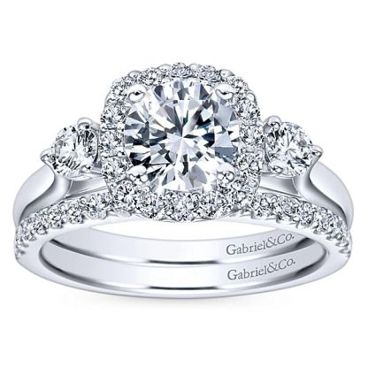 Gabriel Martine 14k White Gold Round 3 Stones Halo Engagement RingER7510W44JJ 41 - 14k White Gold Round 3 Stones Halo Diamond