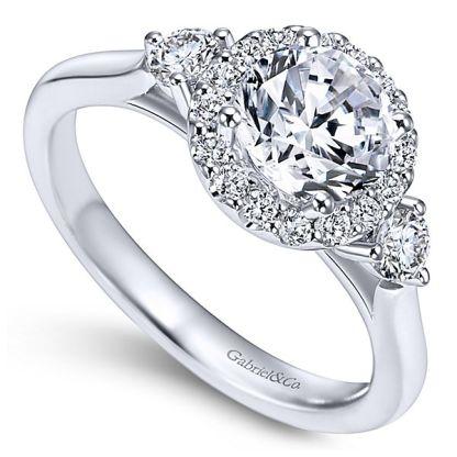 Gabriel Noelle 14k White Gold Round 3 Stones Halo Engagement RingER7482W44JJ 31 - 14k White Gold Round 3 Stones Halo Diamond