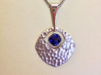 Hammered Sapphire Pendant 2 - Blue Sapphire Hammered Pendant