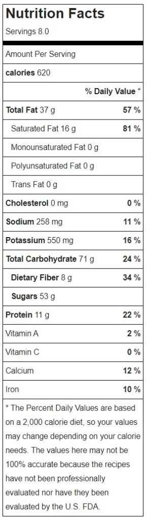 Raw Vegan Snickers Pie Nutrition Facts