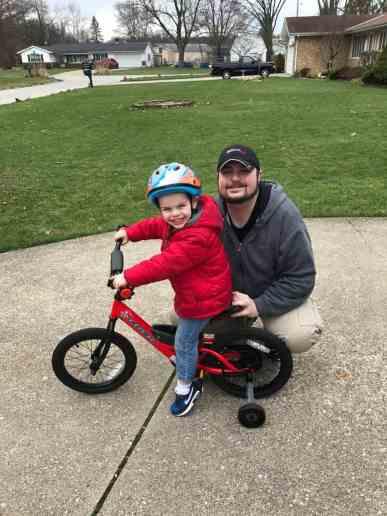 bradley and daddy new bike