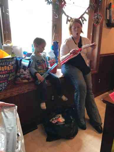 bradley opening gifts
