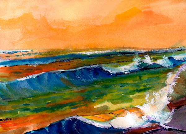 coast color watercolor painting