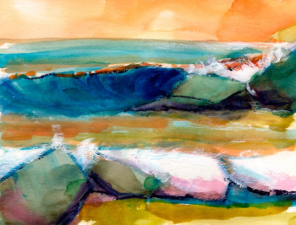rock crush watercolor seascape painting