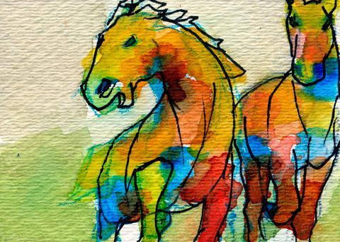 watercolor horses 2