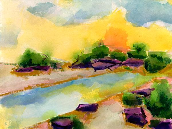 desert mirage watercolor painting