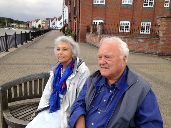 In her last months, Lee went regularly for walks in her beloved Wivenhoe. Here Ken and Lee sit on a bench by the river and look out.....