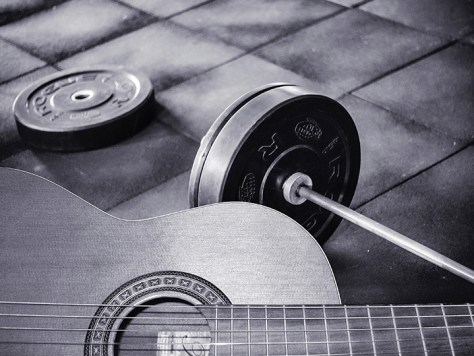 barbell and guitar