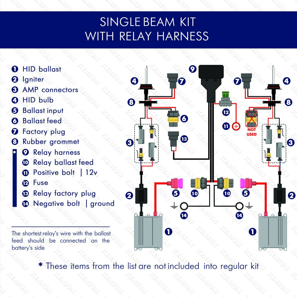 Single beam with relay harnest wiring diagram