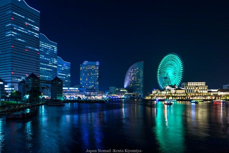 横浜夜景(汽車道・コスモクロック・赤レンガ倉庫)-Japan Nomad (2)