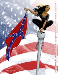 A comic book version of activist Bree Newsome crouching on the top of a flagpole, Spiderman-style, while poised to drop the Confederate flag to the ground.