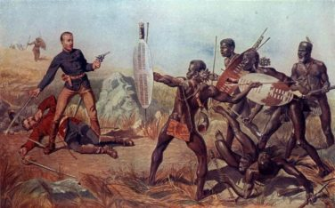 Zulu warriors in battle against Europeans