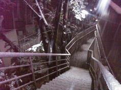 Tokyo snow Atago shrine hill stairs