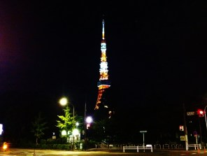 Tokyo Tower, as seen from Onarimon Station (and Shiba Park #4), late at night.