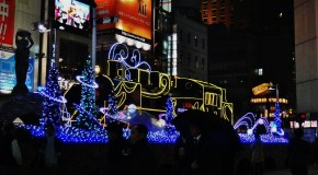 Shimbashi station train christmas lights 1