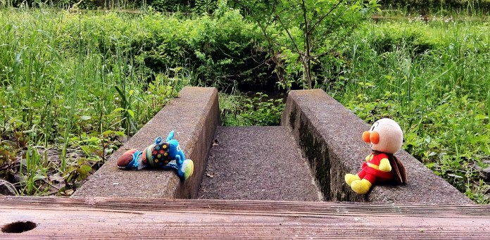 Anpanman and the Blue Elephant resting in the grassy Nogawa River