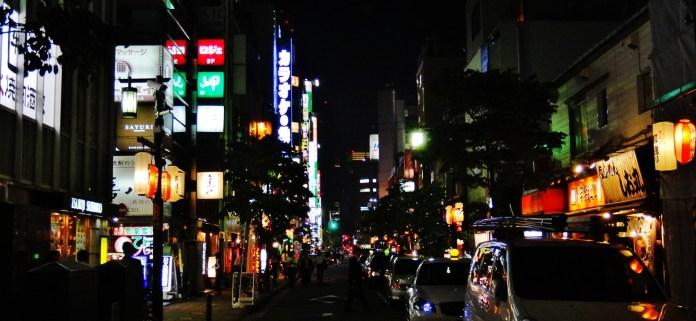 Shimbashi street night lights