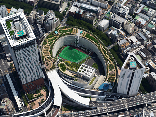 Ohashi Green Junction cross air tower from above