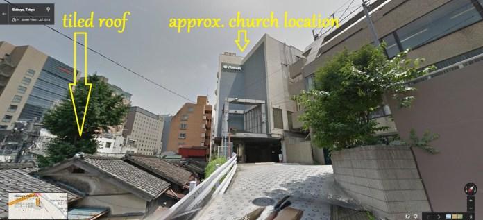 Shibuya hill Black Sun view of church 2015