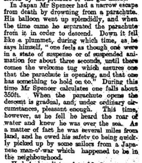 Percival Spencer's Japan accident