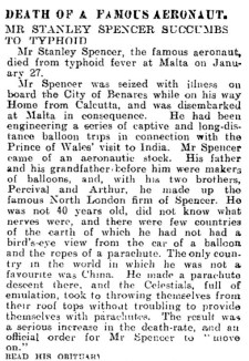 Stanley Spencer obituary 1906