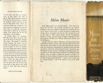 "Bio for Helen Mears, from the dust jacket of ""Mirror for Americans - Japan"""