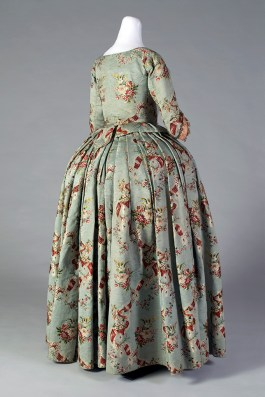 Silk brocade skirt and bodice, ca. 1765