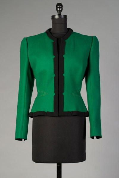 Green and black wool jacket, Pauline Trigère, 1942. KSUM 2003.6.5