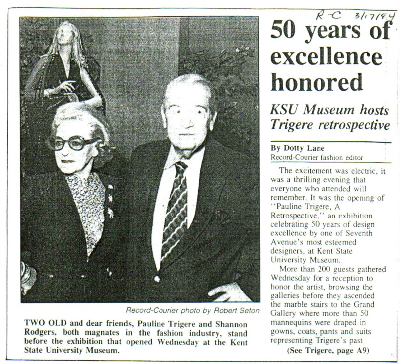 Pauline Trigère with KSU Museum founder Shannon Rodgers in 1994. Record-Courier.