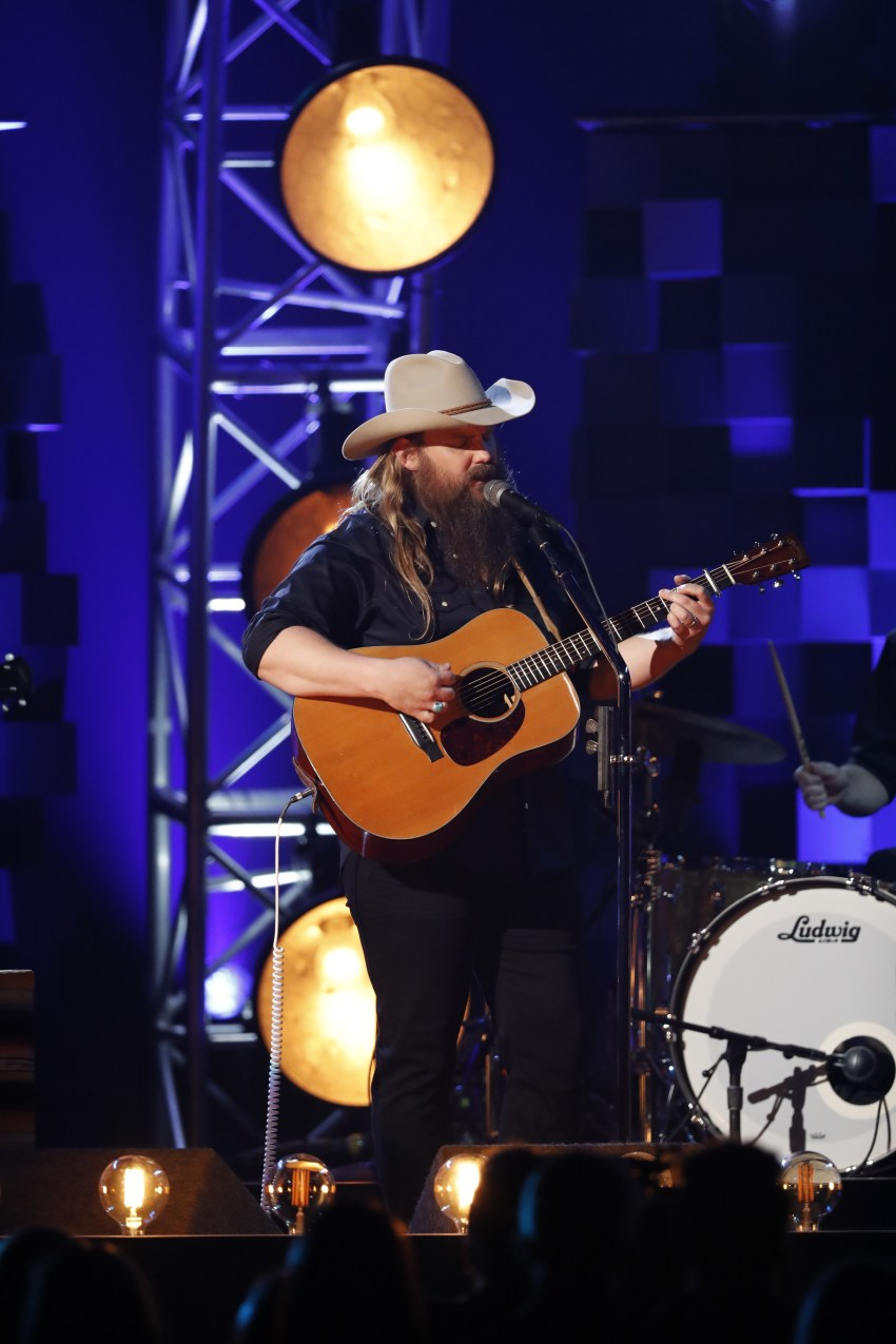 """Chris Stapleton performs """"Broken Halos"""" at """"The 51st Annual CMA Awards,"""" live Wednesday, Nov. 8 at Bridgestone Arena in Nashville and broadcast on the ABC Television Network. Photo Credit: John Russell/CMA"""