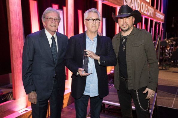 Bob Kinsley, Clarence Spalding, and Jason Aldean at the Opry.