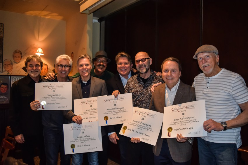 L to R: Exile's Steve Goetzman, Maverick's Clarence Spalding, Exile's Sonny LeMaire and Marlon Hargis, BMI's David Preston, Exile's J.P. Pennington, BMI's Jody Williams and Exile's Les Taylor Photo Credit: Bev Moser
