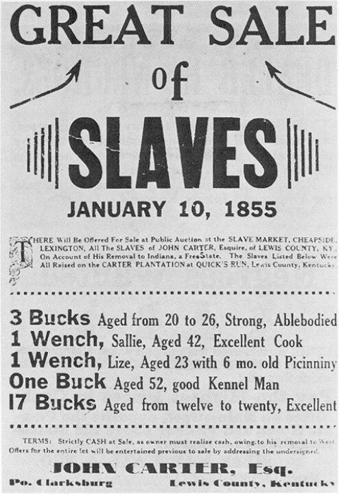 1855 Cheapside Slave Auction advertisement.