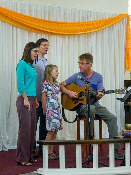 Congregants bring their musical talents to the Sunday worship service in many ways