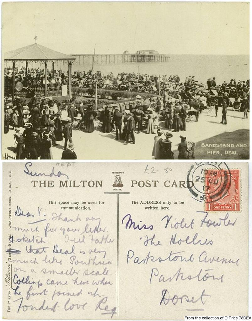 78DEA - Bandstand and Pier Holiday Postcard 1917 (Front & Back)