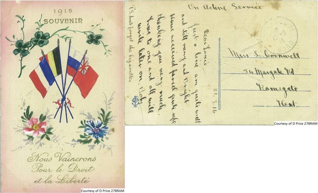 278RAM - 1915 Souvenir Postcard (Front & Back)