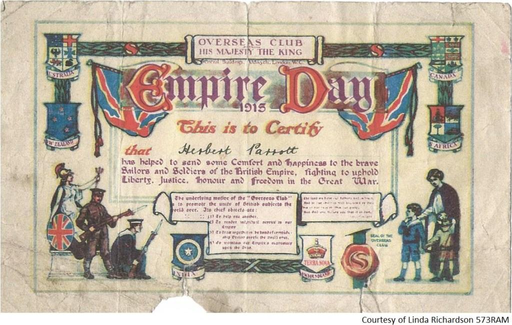 573RAM - A Certificate to Herbert Parrot - Empire Day