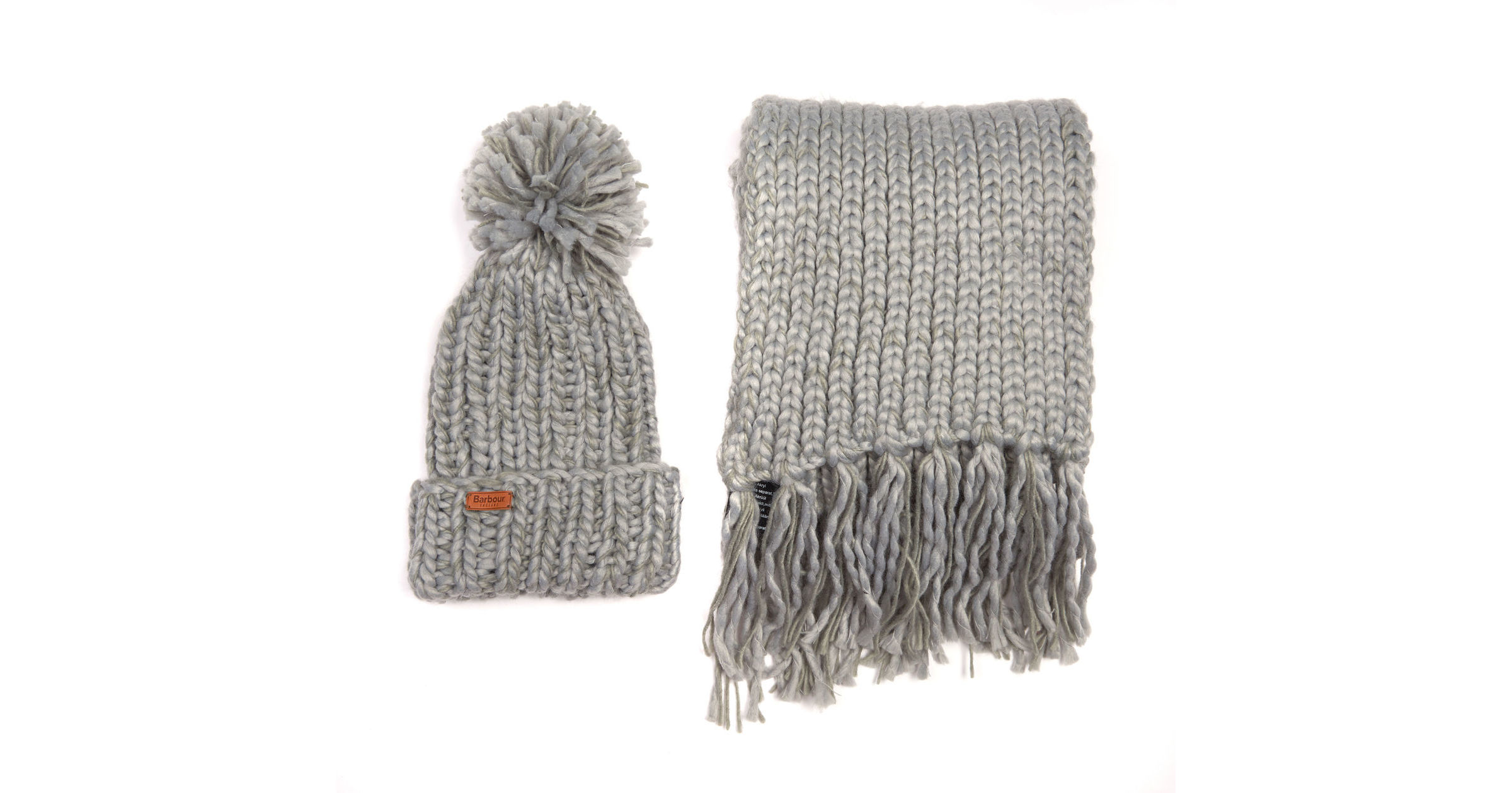 Barbour Chunky Knit Hat And Scarf Set Grey