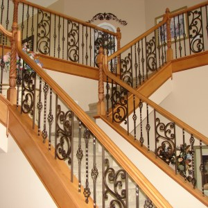 Custom high-end staircase designed and built by Ken Walters Construction