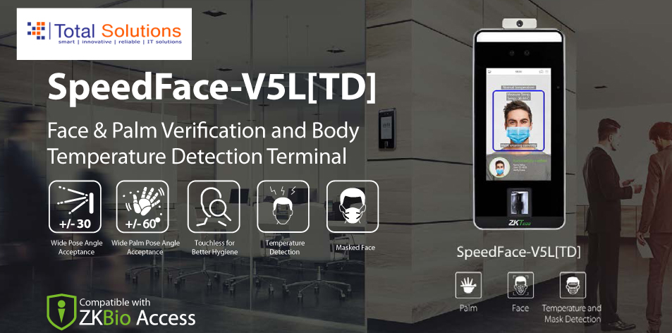 Total Solutions Ltd: SpeedFace-V5L[TD]- Face & Palm Verification and Body Temperature Detection Terminal