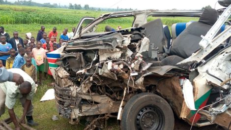 The wreckage of a matatu which was involved in an road accident with a bus along the Webuye-Bungoma highway on Saturday June 1, 2019.