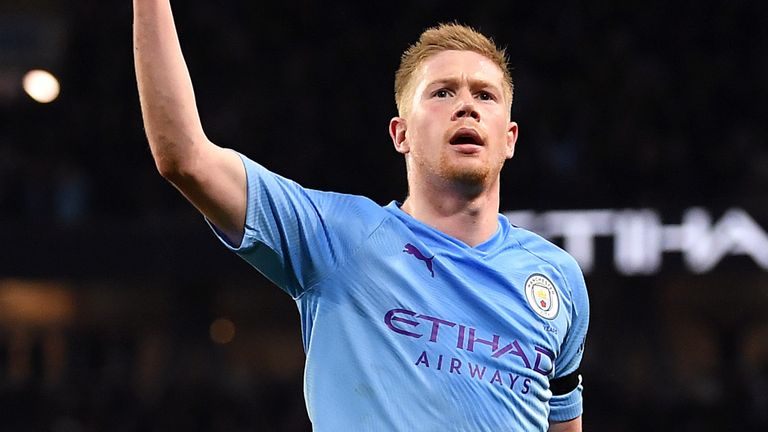 Kevin De Bruyne Celebrates goal in a past match for City