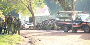 Police are pictured around the Migori County Assembly premises ahead of the tabling of a motion to impeach Governor Okoth Obado, September 8, 2020.