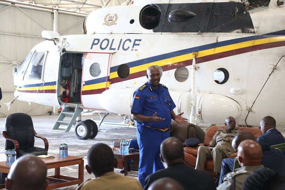 Inspector General of Police Mr. Hilary Mutyamba during his recent visit to the Police Airwing.