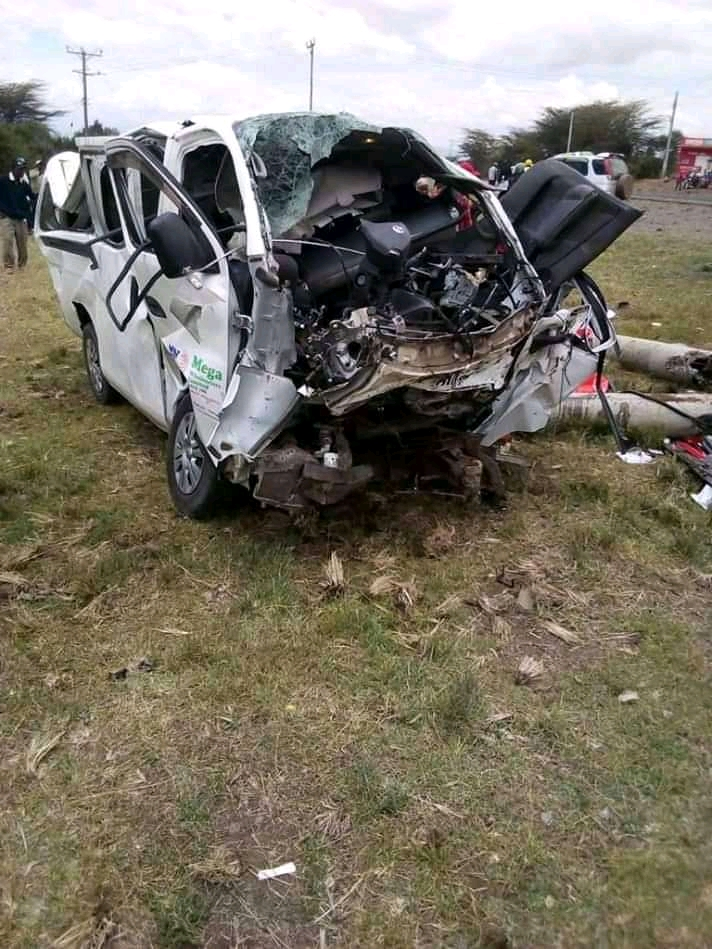 Wreckage of the Nissan van belonging to Edoret Megawholesalers which claimed the lives of 7 people