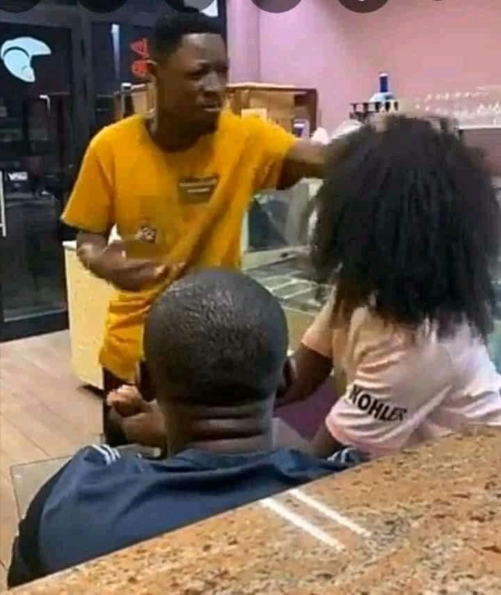 Drama as a man removes his girlfriend's wig after busting her with another man (PHOTOs)