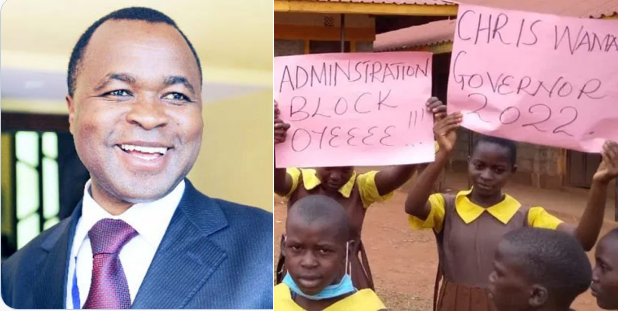 SHAME: Kiminini MP, CHRIS WAMALWA, uses schools kids to campaign for Gubernatorial seat in 2022 – What's wrong with these Mpigs (PHOTO)